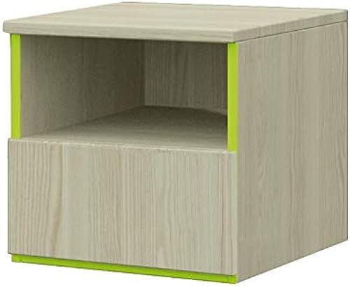 mb-moebel Nachttisch mit Schublade und Ablagefach Nachtkommode ABC 14 ASH +Lime