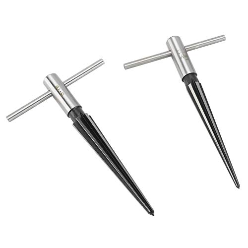"YaeKoo 2 pcs Tapered Reamer T Handle 6 Fluted Chamfer Bridge Pin Hole Hand Held Reamer Sizes 1/8""-1/2"" (3-13mm) & 5''-5/8'' (5-16mm) Handle Drilling Tools"