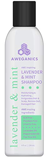 Aweganics Lavender Mint Hair Shampoo - AWE Inspiring Natural Aromatherapy Invigorating Purple Shampoos - Hydrating, Cleansing, Moisturizing - Paraben-Free, Cruelty-Free, Peppermint, Tea Tree