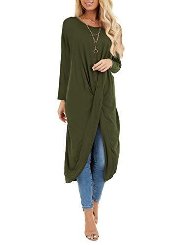 ZANZEA Damen Casual Lange Kleid Strick Langarm Herbst Winterkleider Einfarbig Mutterschaft Rock Grün S