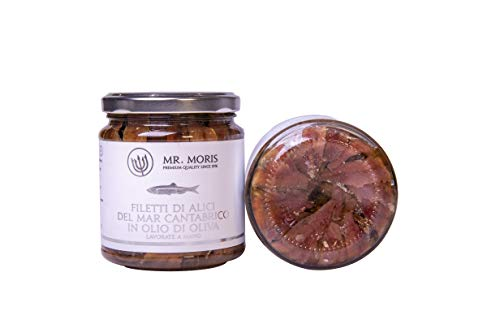 Mr. Moris Filets danchois de la mer Cantabrique à lhuile dolive Kosher Handmade (320 Gr)