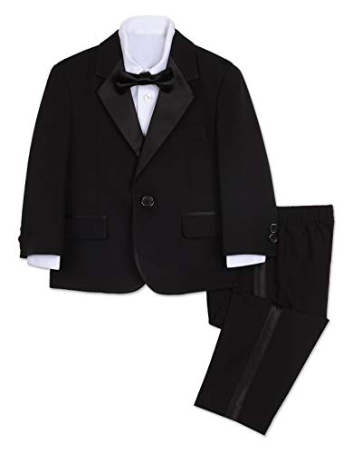 Nautica Baby Boy's Tuxedo Set with Jacket, Pant, Shirt, and Bow Tie, Black, 12M
