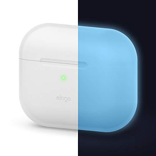 elago Original Silikon Hülle Schutzhülle Case Kompatibel mit Apple AirPods Pro (2019) – 360 Grad Voller Schutz, Hochwertiges Silikon [Passform Getestet] (ohne Karabiner, Nachtleuchtendes Blau)