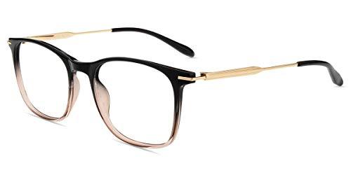 Firmoo Blaulichtfilter Brille Damen ohne Sehstärke, Herren Anti Blaulicht Brille Gaming, Blaulicht UV Schutzbrille Anti Augenmüdigkeit Kopfschmerzen, Eckige Brillegestelle(Schwarz-Braun)