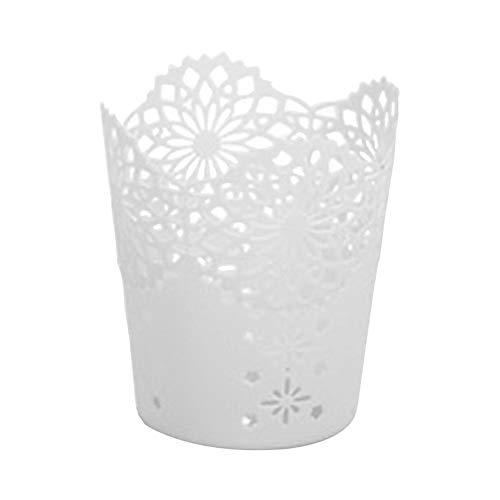 Beeria Beauty Pot à pinceaux de maquillage en plastique pour fond de teint poudre bouffée fleur blanche creuse couronne en dentelle durable pot à crayons poubelle de bureau décoration de la maison