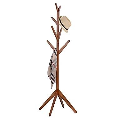 Neasyth Solid Wood Coat Rack SimpleEntryway Standing Hall Tree Tetrapod Base for Hat Jacket Coat Hanger Rack in Living Room Bedroom (Teak-color)