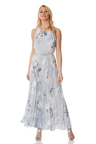 Roman Originals Women's Sleeveless Floral Pleated Maxi Dress - Evening Formal Wedding Guest Bridemaids Party Special Occasion Wear Dresses - Grey - Size 16