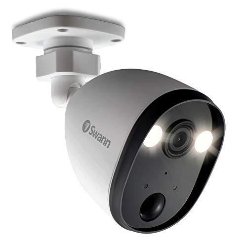 Swann Outdoor Home Security Camera, Spotlight, Weatherproof, Color Night Vision, Heat & Motion Sensor Light, 2-Way Talk and Siren, SWIFI-SPOTCAM-GL