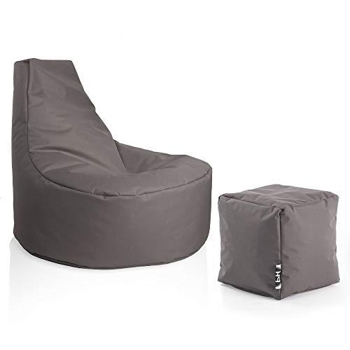 Patchhome Gamer Sessel inkl. Würfel Bean Bag Set Ø80cm, 30cm Sitzhöhe, 90cm Höhe + 35x35cm Würfel Anthrazit