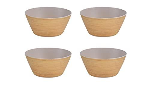 Cuenco bambú orgánico Set 4 unidades. 14,5 x 7 cm I Fibra de Bambú. Vajilla ecológica bambú I Libre de BPA y Apto lavavajillas. Tazón Desayuno, Cuenco ensaladera.