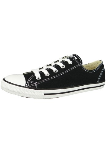 Converse Women's Dainty Canvas Low Top Sneaker, Black, 8.5 M US