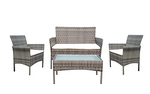 1ABOVE 4PC Rattan Garden Furniture Set with Coffee Table, Double Seated Sofa and 2 Chairs, Outdoors Dining Rattan Set, Weather Resistant, Comfortable and Stylish Patio Set (GREY)