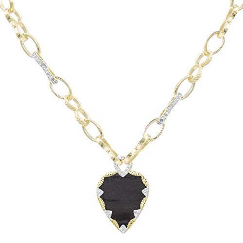 Be Maad Heart and Zirconia Long Link Necklace (Textured Onyx)