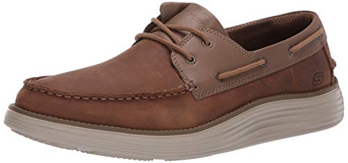 Skechers Men's Status 2.0-Former Moc Toe Leather Lace Up Boat Shoe, DSCH, 10 Medium US
