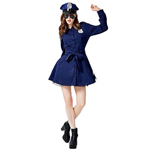 Dama de Halloween Lencería Sexy Maid Uniforme Uniforme de Policía Cosplay Vestido Azul
