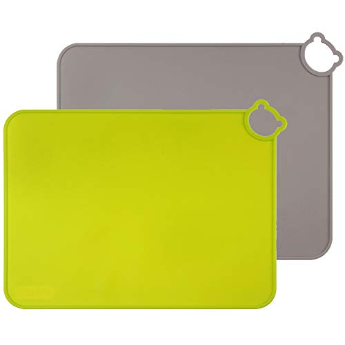 ME.FAN Silicone Placemats for Kids Baby Toddlers Non-Slip | Tablemats Stain Resistant Anti-Skid Reusable Dishwasher Safe Table Mats | Portable Food Mat Travel Set of 2 (Gray-Green)