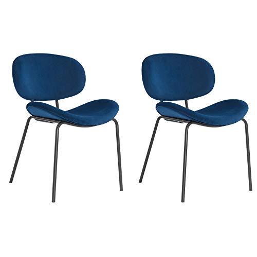MIFI Set di 2 sedie da Pranzo Sedie da Pranzo retrò Vintage Sedie da Trucco Cuscini Morbidi in Velluto Sedile e Schienale con Gambe in Metallo Sedie da Cucina per Sala da Pranzo e Soggiorno, Blu