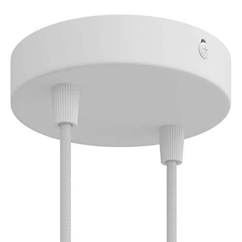 creative cables Zylindrischer 2-Loch-Lampenbaldachin Kit aus Metall - Zylindrisch, Mattweiß
