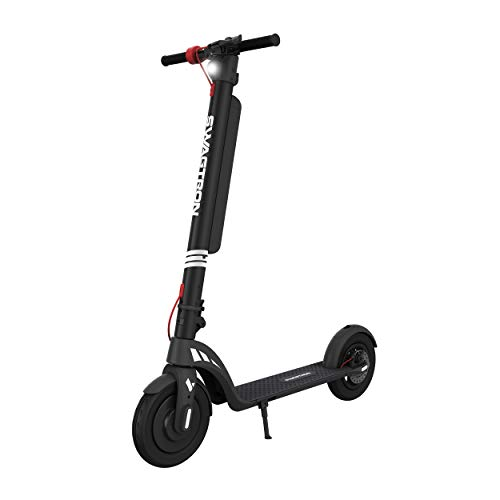 """Swagtron Swagger 7T Transport Electric Scooter with Removable Battery Powerful 350W Motor and 18.9-Mile Extended Range, 3-Step Fold & Go Design with Maintenance-Free 10"""" Tires (IP54)"""