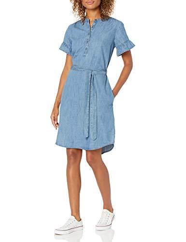 Amazon Brand - Goodthreads Women's Denim Flutter-Sleeve Dress, Medium Wash, Large