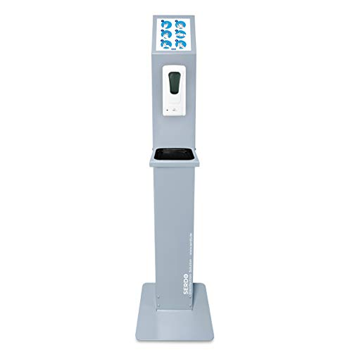 Desinfektionssäule mit Sensor - automatischer Desinfektionsmittelspender – berührungslos, mobil, freistehend mit stabilem Standfuß und Auffangschale.