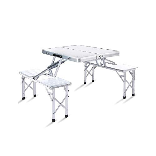BUYT Picnic Tables Portable Folding Picnic Table with 4 Seating, Multifunctional Folding Table Outdoor Leisure Camping Tables and Chairs with Umbrella Holes