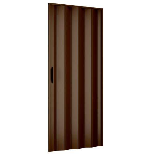 Porta a soffietto 82x210 cm modello extra standard in pvc color noce con chiusura reversibile regolabile sia in altezza che lunghezza
