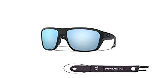 Split Shot OO9416 941606 64MM Matte Black/Prizm Deep Water Polarized Rectangle Sunglasses for Men +BUNDLE with Oakley Accessory Leash Kit