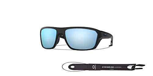 Split Shot OO9416 941606 64MM Matte Black/Prizm Deep Water Polarized Rectangle Sunglasses for Men +BUNDLE with Oakley Accessory Leash Kit