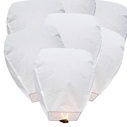 BATTIFE 10 Pack Chinese Flying Paper Lanterns 100% Biodegradable Eco Friendly Full Assembled White for Party Holiday Memorial Day