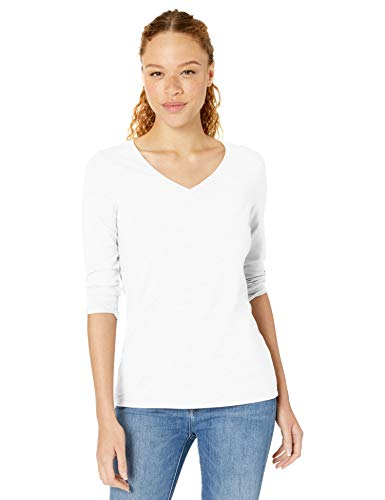 Amazon Essentials Women's Classic-Fit 3/4 Sleeve V-Neck T-Shirt, White, XX-Large