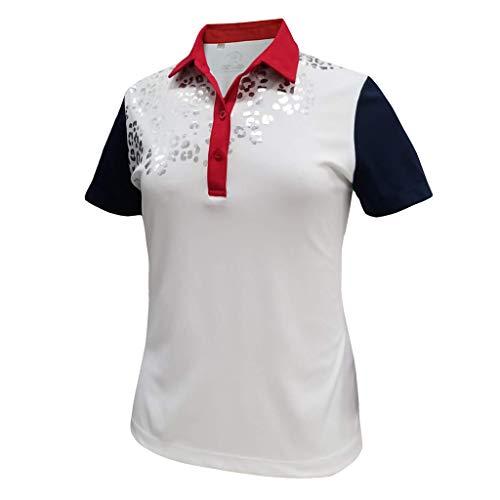 Monterey Club Women's Leopard Foil Print Polo Shirt #2394 (White/Navy/Red, Medium)