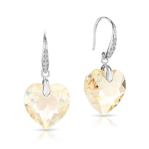 LA SENJA Swarovski Heart Earrings for Women, Sparkly Golden Shadow Crystal Earrings, 925 Sterling Silver Drop Earrings, Handmade Jewelry