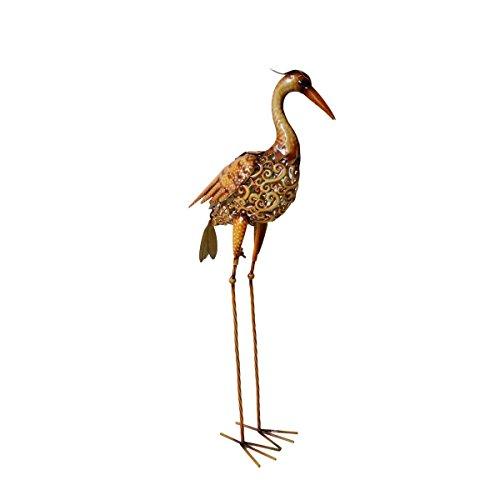 Unbekannt VARILANDO® Vogel-Gartenfiguren aus Metall in Rost-Optik in 4 hübschen Varianten Taube Kakadu Kranich Vogel Metall-Figur (Kranich Marty)
