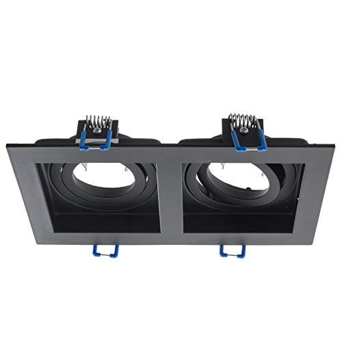 Portafaretto rettangolare incasso doppia lampada luce soffitto GU10 GU5.3 MR16