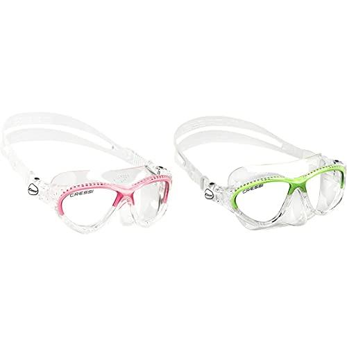 Cressi Premium Schwimmbrille Kinder 7/15 Jahre 100% UV Schutz + Tasche - Hergestellt in Italien & Schnorchelset Maske Kinder Moon Kid