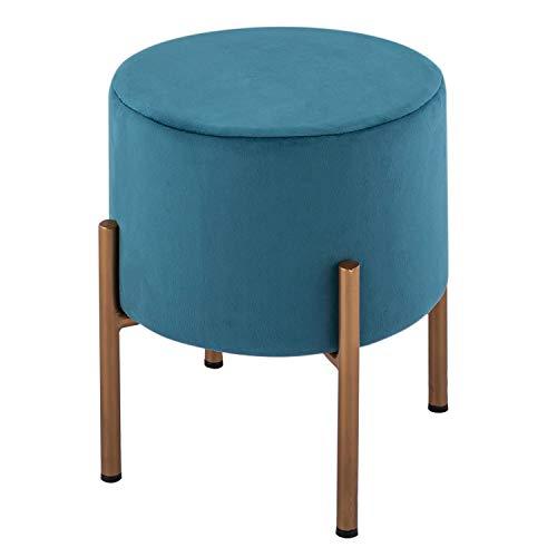 casamia Samthocker Sitzhocker Samt Pouf Ø 32 H 42 cm Sitzpouf Velour mit Füßen Eisen goldfarbig Farbe smaragd
