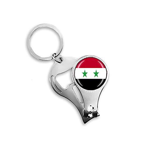 Syrien-Flagge Bierflaschenöffner Nagelknipser Metall Glas Kristall Schlüsselanhänger Reise Souvenir Geschenk Schlüsselanhänger Zubehör