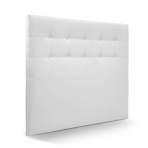 SUENOSZZZ-ESPECIALISTAS DEL DESCANSO Cabecero de Cama Munich tapizado en Polipiel para Camas de 80 (90 x 120 cm) Polipiel Blanco