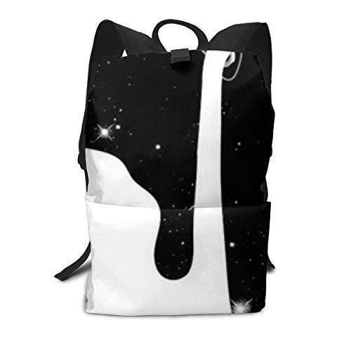 Strapazierfähiger Rucksack, 3D-Druck, schwarz, weiß, Milch, Schultasche, Reiserucksack für Kinder und Erwachsene