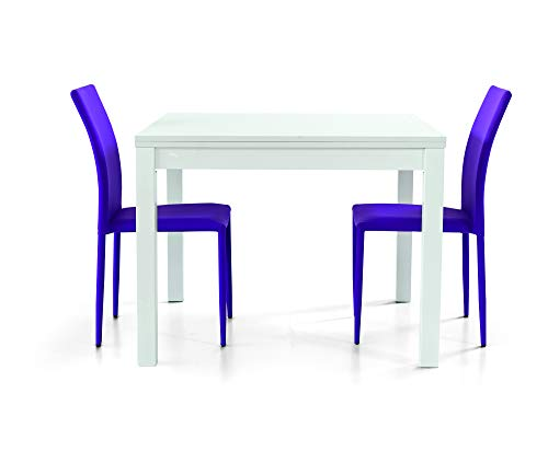 Fashion Commerce FC559 Tavolo Allungabile, Legno, Bianco, 90 x 90 x 76 cm