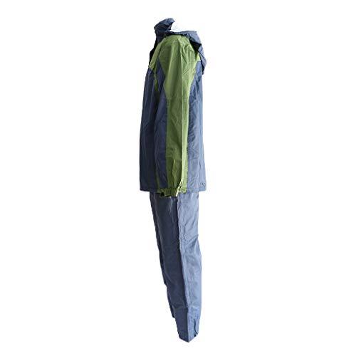 Générique Sharplace Ensemble de Veste à Capuche et Pantalon, Unisexe Tissu Imperméable Moto Capuche Ajustable - vert, XXL