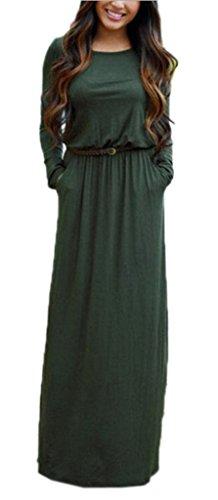 Bigood Robe Longue Femme Col Rond Manche Longue avec Ceinture Casual Soirée Cocktail Mariage Vert Bust 98cm