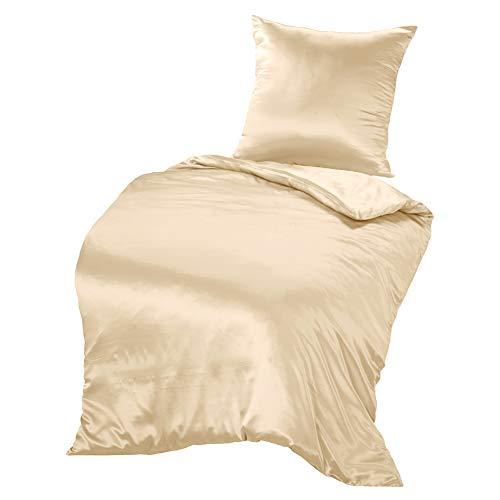 THXSILK Seidenbettwäsche Set 2 teilig, Bettbezug 135 x 200 cm und 80 x 80 cm Kissenbezug, Hypoallergen 19 Momme Maulbeerseide Bettwäsche, Ultra Weich und Glatt, Champagner