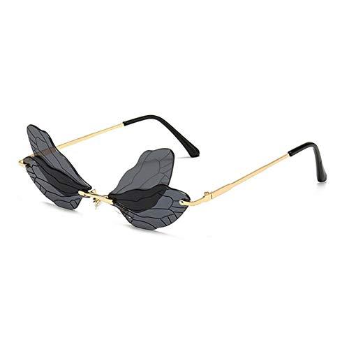 UKKD Gafas De Sol Mujeres Fashionless Dragonfly Wing Gafas De Sol Mujeres Vintage Clear Ocean Lens Eyewear Hombres Pink Amarillo Gafas De Sol Trasas Uv400-Gray
