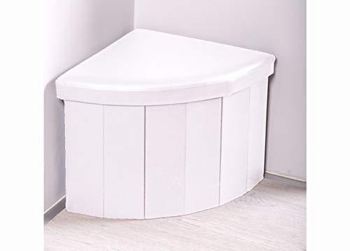 BiancheriaWeb Pouf Contenitore Imbottito Pieghevole in Ecopelle Modello Corner Bianco