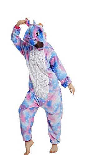 Kigurumi - Pijama de animal, traje de cuerpo entero, disfraz de Halloween, cosplay, unisex, adulto y niño Unicornio Estrellado Multicolor 1 XL