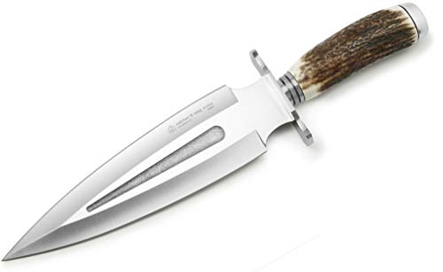 Puma IP Catcher III (Double-Edged Blade) Spanish Made Hunting Knife with Leather Sheath