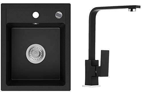 Küchenspüle Schwarz 40 x 50 cm, Spülbecken + Wasserhahn Küche + Siphon Automatisch, Granitspüle ab 40er Unterschrank in 5 Farben mit Armatur Varianten, Einbauspüle von Primagran