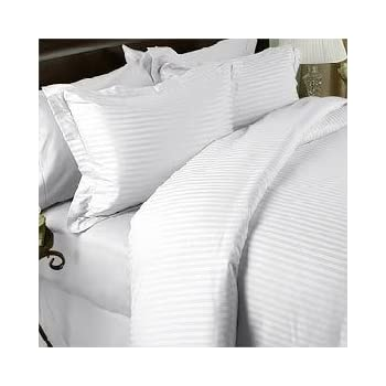 Juego de sábanas completo/doble en algodón egipcio de 1000 hilos, rayas blancas (bolsillo profundo): Amazon.es: Hogar